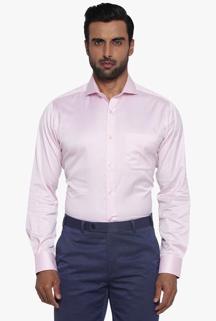 b4e96f613f5 Buy Raymond Baby Pink Slim Fit Cotton Shirt for Men Online   Tata CLiQ