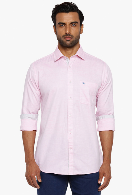 ad3bbb072c0 Buy Raymond Baby Pink Full Sleeves Slim Fit Cotton Shirt for Men ...