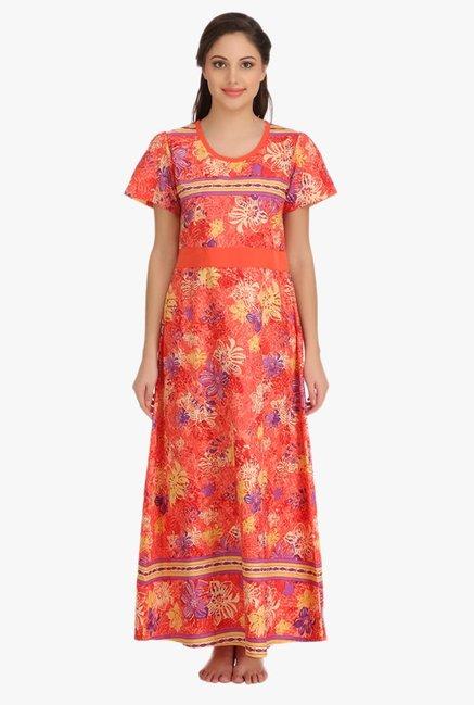 02917d3e27 Buy Clovia Orange Floral Print Cotton Nighty for Women Online ...