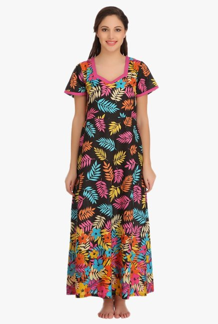503765ded Buy Clovia Black Printed Cotton Nighty for Women Online   Tata CLiQ