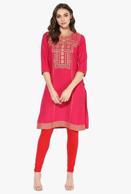 Juniper Pink Printed Cotton Kurta