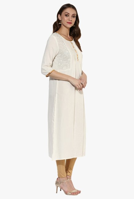 Juniper Off White Rayon Kurta