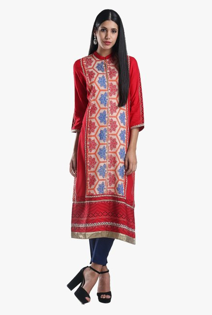 W Red Printed Cotton Kurta