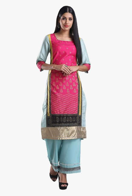 W Blue & Pink Printed Cotton Kurta