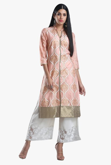 W Peach Printed Viscose Straight Kurta