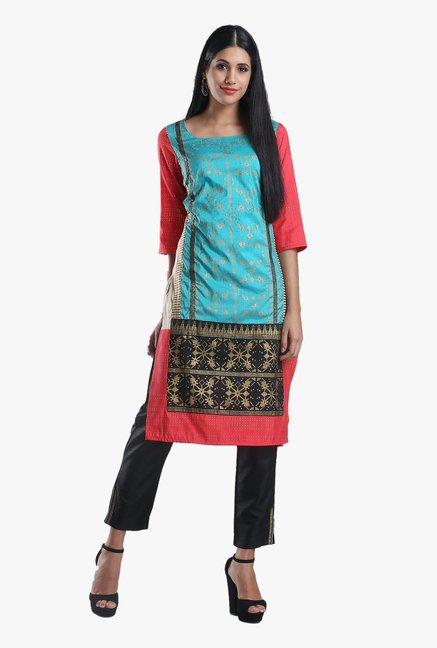 W Coral & Blue Printed Cotton Kurta