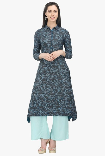 W Grey Printed Cotton Straight Kurta