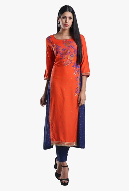 W Orange Floral Print Viscose Kurta