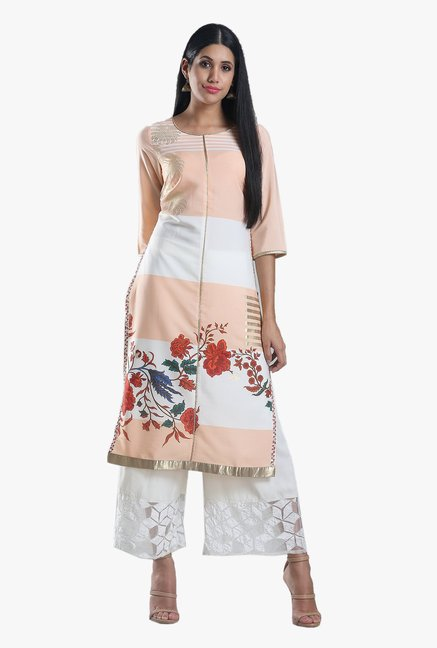 W Peach Floral Print Cotton Kurta