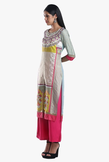 W Multicolor Printed Viscose Kurta