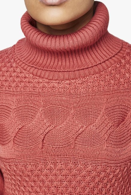 AND Peach Self Print Sweater
