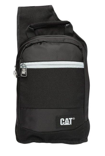 CAT Hercules Black Solid Polyester Cross Body Bag