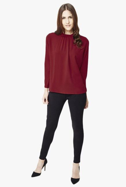 AND Maroon Textured Top