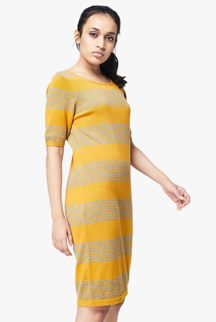 AND Mustard Striped Knee-Length Dress