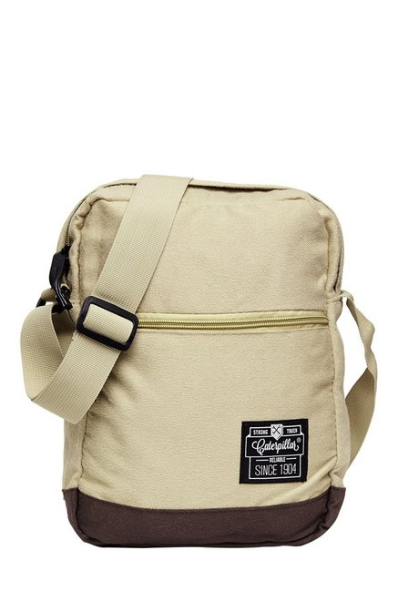CAT Hauling Beige & Brown Solid Polyester Sling Bag