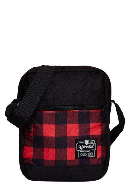CAT Hauling Red & Black Plaid Polyester Sling Bag