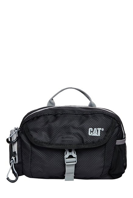 CAT Fuji Black Textured Polyester Waist Pouch