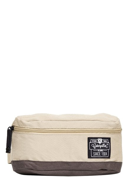CAT Heaving Cream & Brown Solid Polyester Waist Pouch
