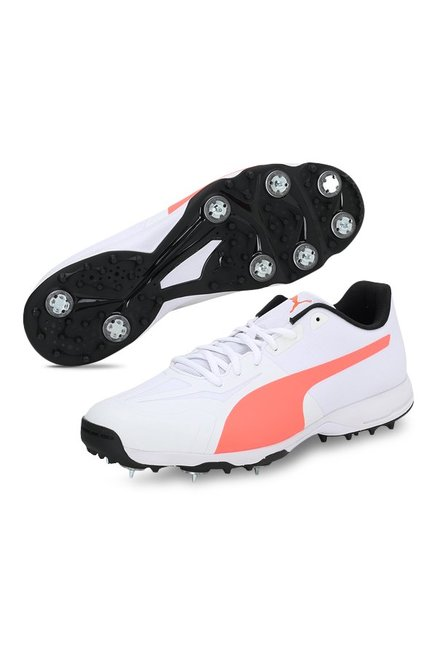 279a7eb2142f81 Buy Puma evoSPEED 360.1 Spike White   Fiery Coral Cricket Shoes for ...