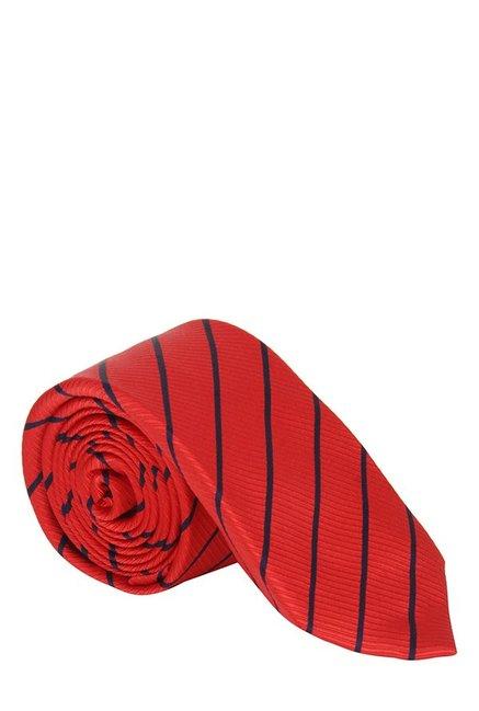 Raymond Red & Black Striped Silk Tie