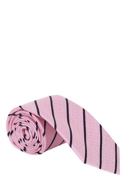 Raymond Pink & Black Striped Silk Tie