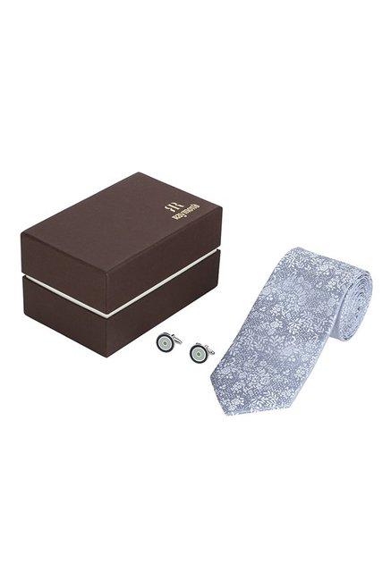 Raymond Grey & Black Embroidered Silk Tie with Cufflinks
