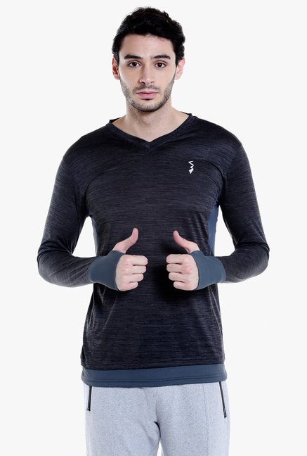 Campus Sutra Charcoal Full Sleeves T-Shirt