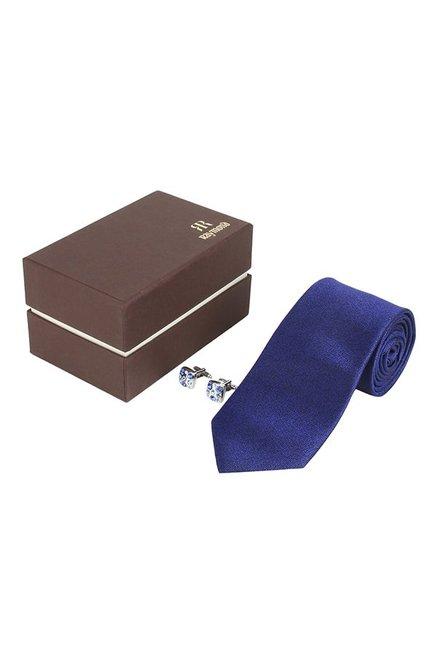 Raymond Dark Blue & Silver Textured Tie with Cufflinks