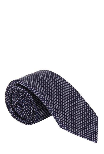 Raymond Navy & White Embroidered Silk Tie