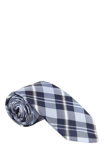 Raymond Navy & White Plaid Silk Tie