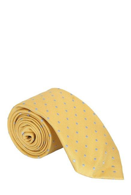 Raymond Yellow & Grey Polka Dots Silk Tie