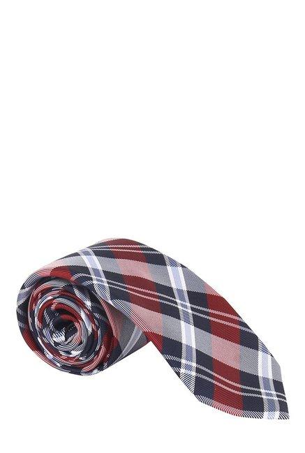Raymond Red & Navy Plaid Silk Tie