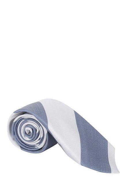 Raymond White & Navy Striped Silk Tie