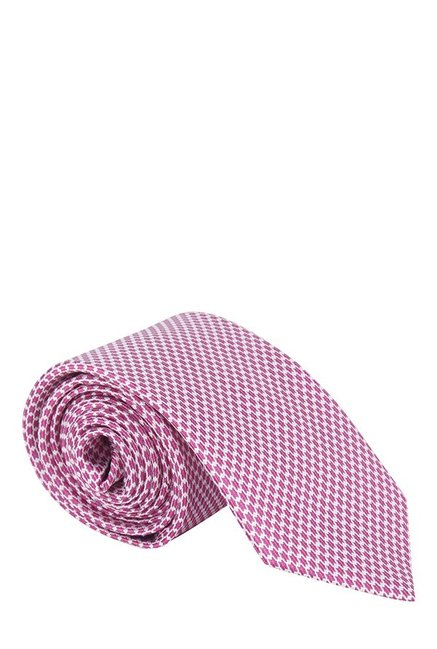 Raymond Pink & White Jacquard Silk Tie