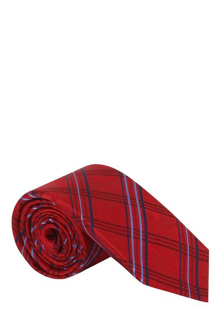 Raymond Red & Blue Chequered Silk Tie