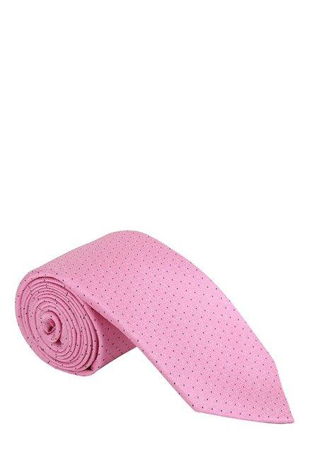 Raymond Pink & Navy Embroidered Silk Tie