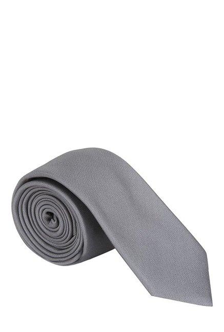 Raymond Grey Solid Silk Tie