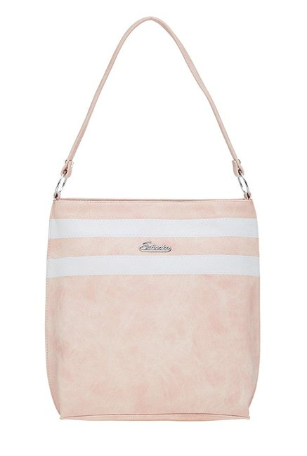 Esbeda Light Pink & White Striped Shoulder Bag