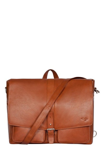 Quick Brown Fox Brown Panelled Leather Laptop Messenger Bag