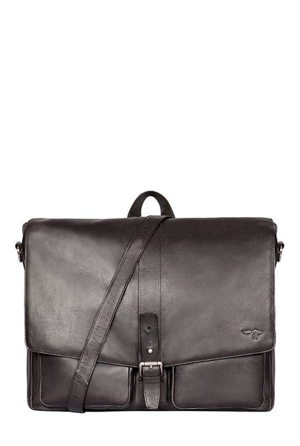 Quick Brown Fox Black Panelled Leather Laptop Messenger Bag