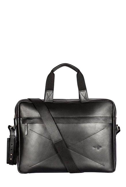 Quick Brown Fox Black Stitched Leather Laptop Messenger Bag