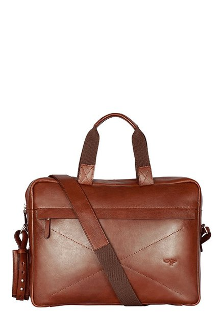 Quick Brown Fox Brown Stitched Leather Laptop Messenger Bag