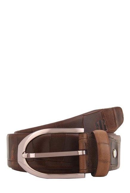 Raymond Dark Brown Textured Leather Narrow Belt