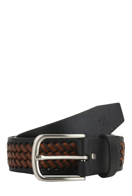 Raymond Tan & Black Interlaced Leather Narrow Belt