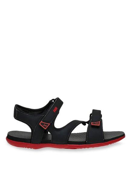 e684dcff8df8 Buy Puma Elego 2 IDP Black   Barbados Cherry Floater Sandals for Men at  Best Price   Tata CLiQ