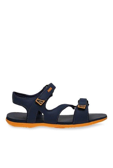 9fa9ec6dbbce7c Buy Puma Elego 2 IDP Peacoat   Zinnia Yellow Floater Sandals for ...