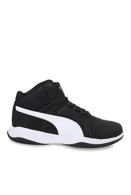 abe39e1c71a Buy Puma Rebound Street Evo IDP Black   White Basketball Shoes for Men at  Best Price   Tata CLiQ