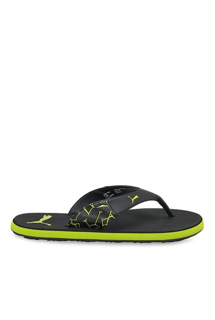 716f7f7062f Buy Puma Winglet II DP Black   Lime Punch Flip Flops for Men at Best Price    Tata CLiQ