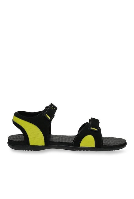 66a81766bf60 Buy Puma Relay IDP Black   Lime Punch Floater Sandals for Men at Best Price    Tata CLiQ