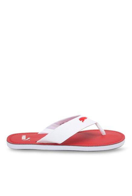 15c305188 Buy Puma Flash Cat IDP White   Barbados Cherry Flip Flops for Men at Best  Price   Tata CLiQ